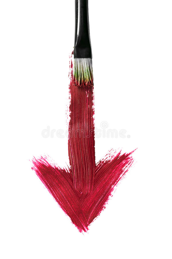 Painting brush. Brush painting red down arrow on white background stock photos