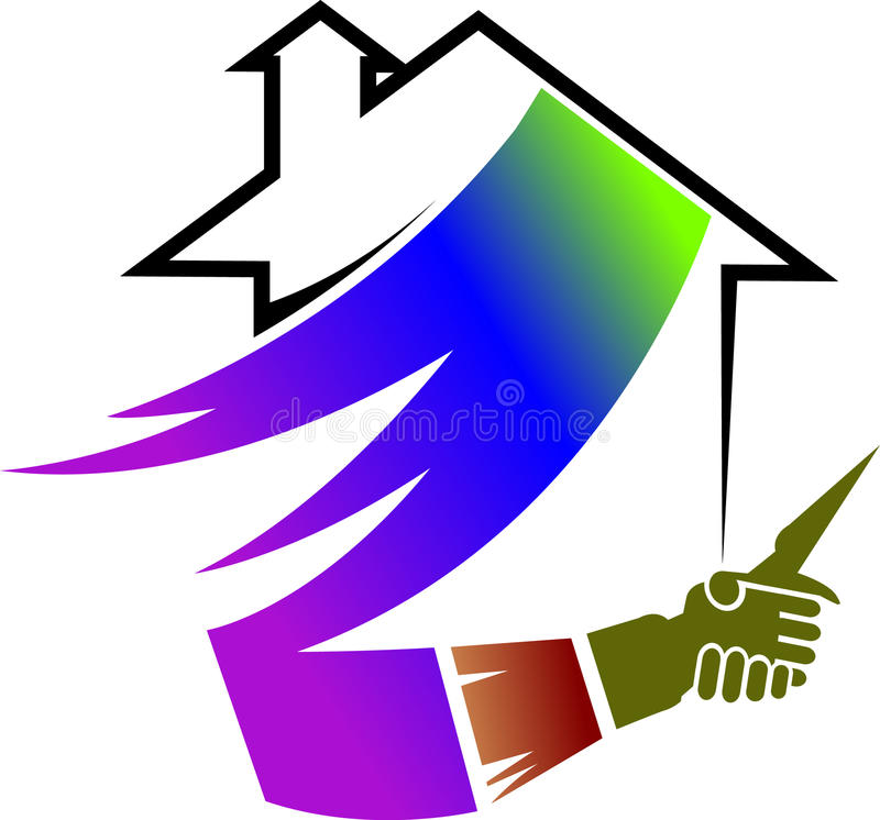 A painting brush and shaking hands. Colored house and painting brush with shaking hands - house painting concept logo with isolated white background vector illustration