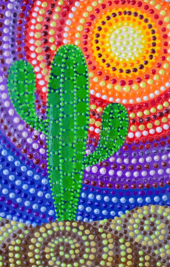 Painting, cactus with mandala on a bright background. Acrylic paints. Dot painting stock illustration