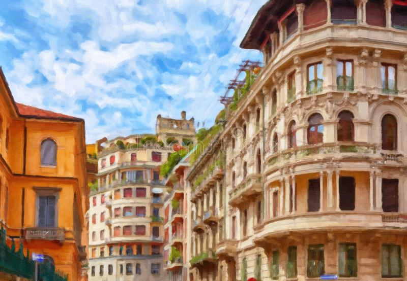 Painting of Milan street stock images