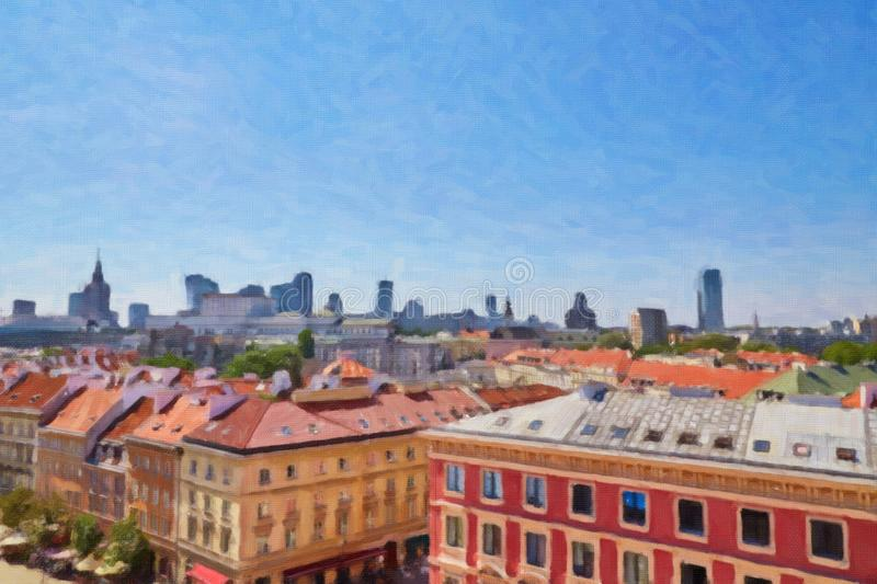 Aerial view of Poland capital royalty free stock photos