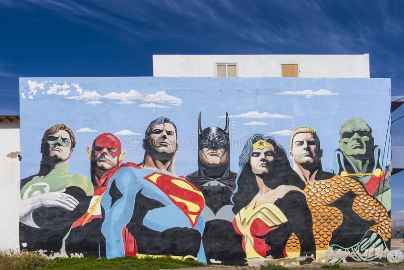 Painting of cartoon heroes. royalty free stock photos