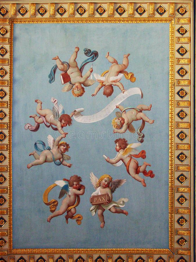 Painting on the ceiling, angels, gods and goddesses. Ancient Roman painting in Vatican royalty free stock image