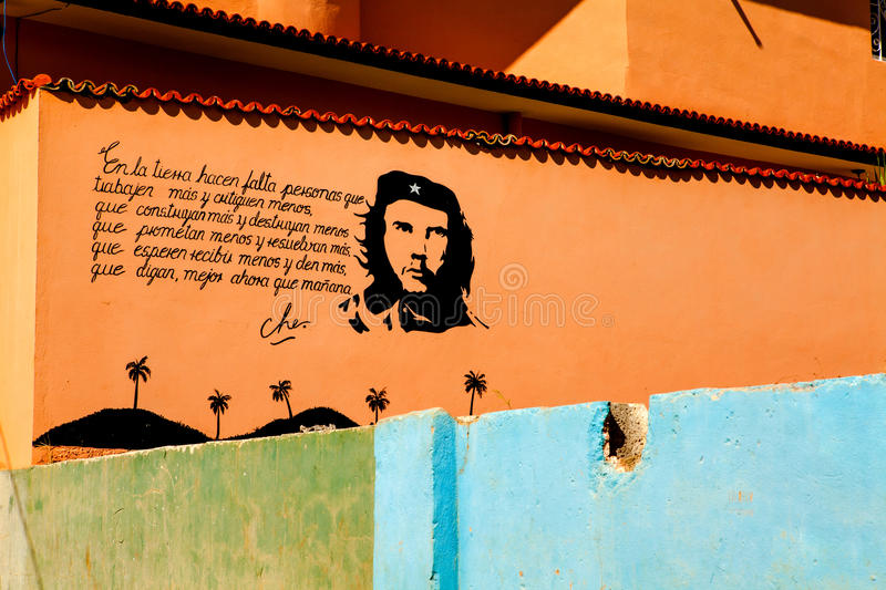 Painting of Che Guevara on a old wall in Trinidad, Cuba stock photo