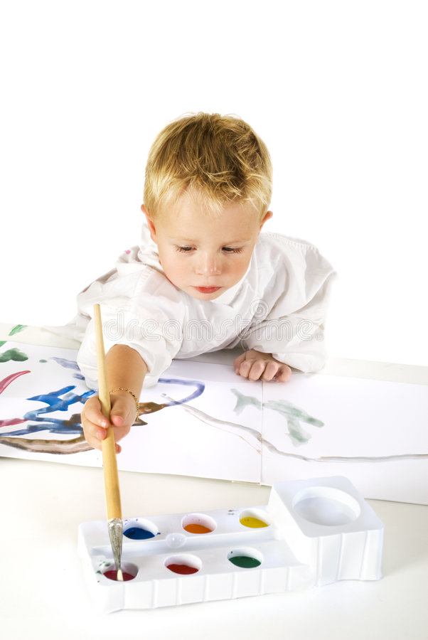 Download Painting child stock photo. Image of glass, brushes, shirt - 3263720