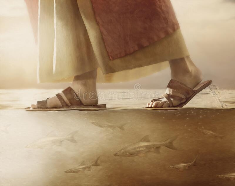 Jesus Christ Walking on Water. Painting of Christ walking on water. Fish swimming beneath His feet vector illustration