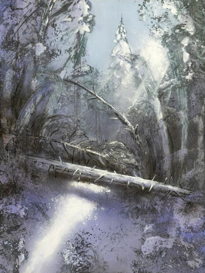 Painting Christmas winter forest covered with snow in sunlight with rays of light and fallen tree. Painting on Canvas of a Christmas winter forest covered with stock illustration