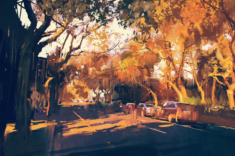Painting of city street in autumn royalty free illustration