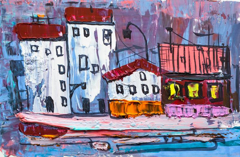 Abstract painting of city buildings royalty free stock images