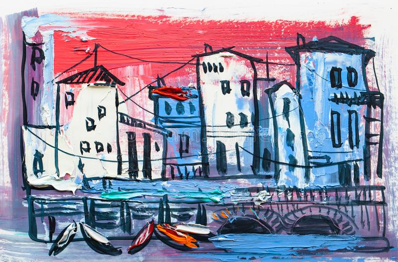 Abstract painting of city buildings royalty free stock photos
