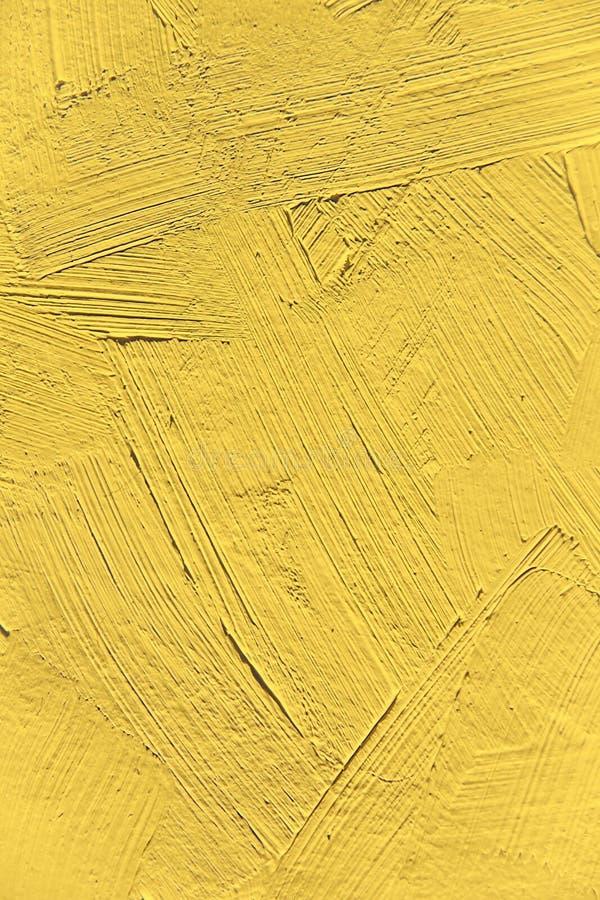 Painting close up of vivid primrose yellow pantone color stock image