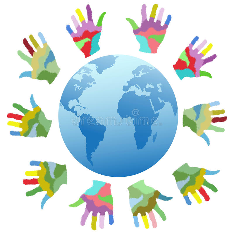 Painting color hands around the world. Isolated painting color hands around the world from white backgronud royalty free illustration
