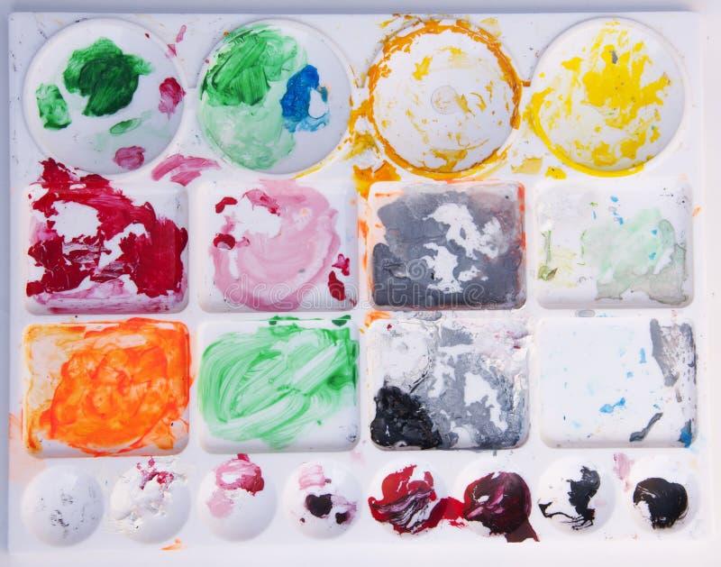 Painting color palette. Rectangle painting color palette with dried color paints stock images