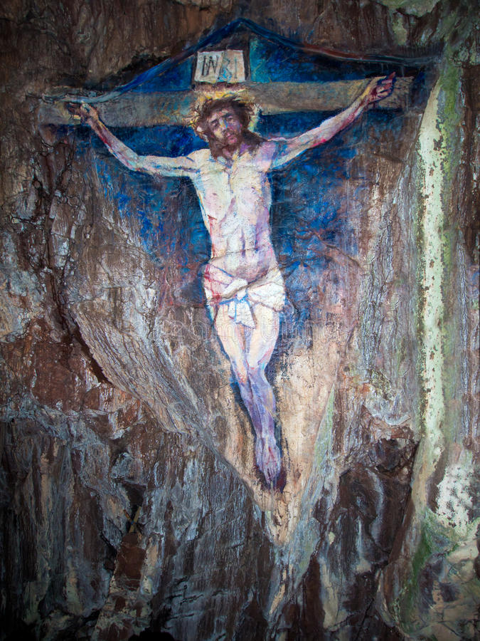 Painting of the Crucifixion. Of Jesus Christ on Davaar Island,Scotland stock photography