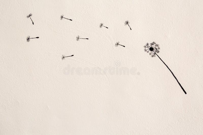 Painting of dandelion flower stock illustration