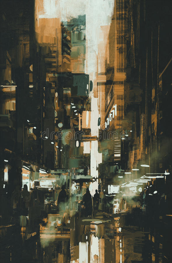 Painting of Dark narrow alley. Narrow alley, illustration digital painting royalty free stock images