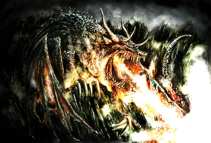 Painting of a dramatic dragon royalty free illustration