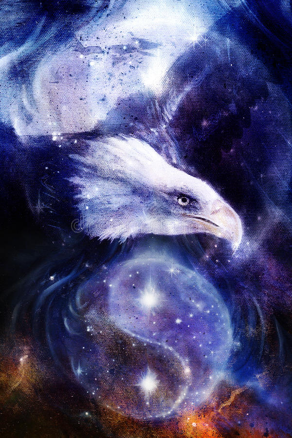 Painting eagle on abstract background, wings to fly, stock illustration