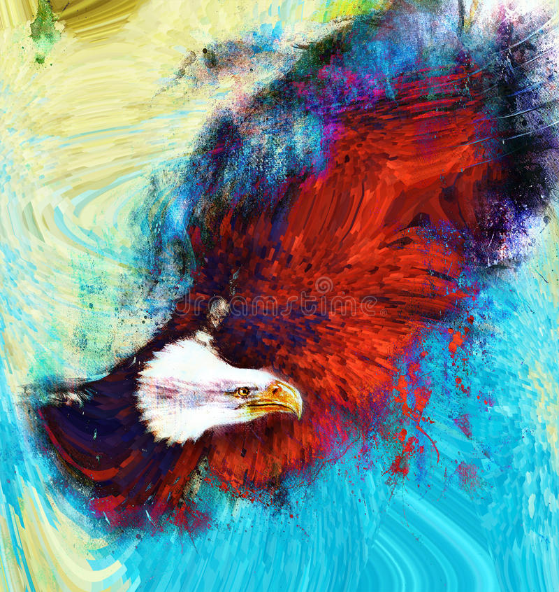 Painting eagle with black feathers on an abstract background , USA Symbols Freedom. Painting eagle with black feathers on an abstract background , USA Symbols stock illustration
