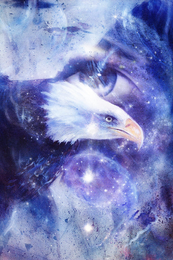 Painting eagle with woman eye on abstract background and Yin Yang Symbol in space with stars. Wings to fly, USA Symbols Freedom royalty free illustration