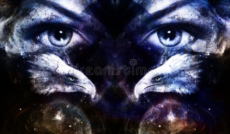 Painting eagles with woman eyes on abstract background and Yin Yang Symbol in space with stars. Wings to fly. stock illustration