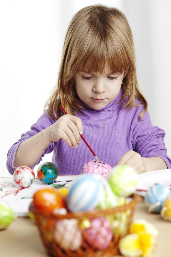 Download Painting easter eggs stock image. Image of toddler, activity - 9516355