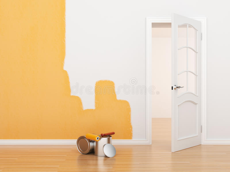 Painting of an empty room. Renovation house. 3D royalty free illustration