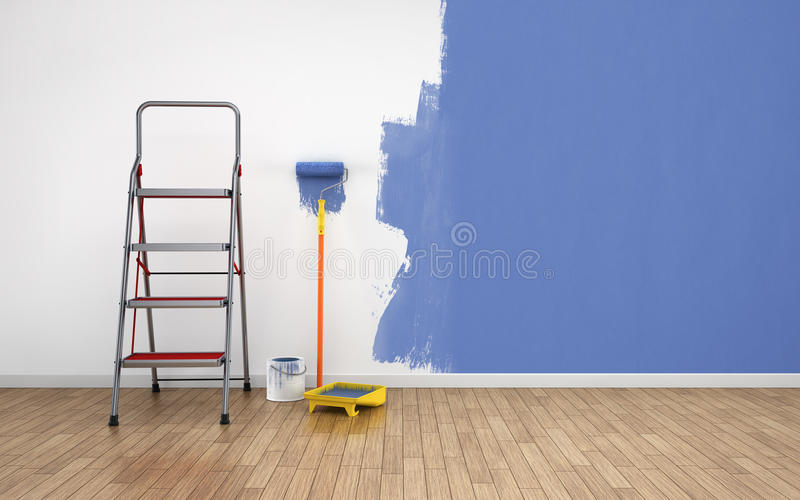 Painting empty room. Painting walls in empty room. Renovation house