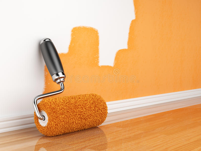 Painting of an empty wall. Renovation home vector illustration