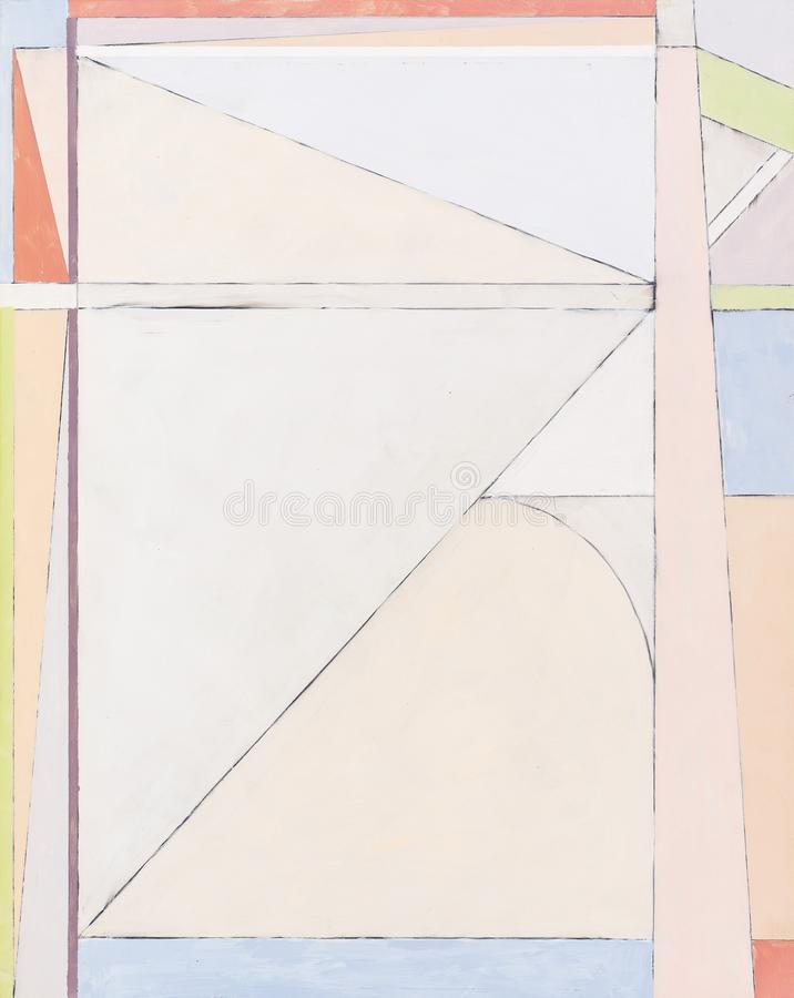 A painting; an example of high-key geometric abstraction. An oil painting; an example of high-key geometric abstraction royalty free stock image