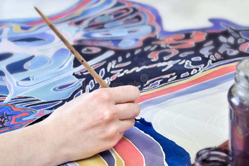 Painting on fabric stock image