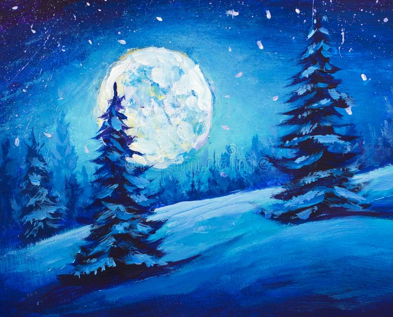 Painting Majestic Winter Night Mountain Valley. Christmas mood illustration Art. stock illustration