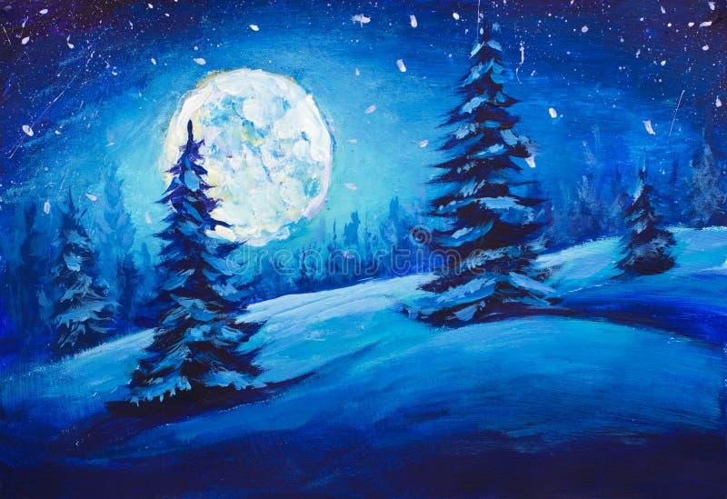 Painting Majestic Winter Night Mountain Valley. Christmas mood illustration Art. Painting Fairy winter night in a mountain valley with full moon in a starry sky stock illustration