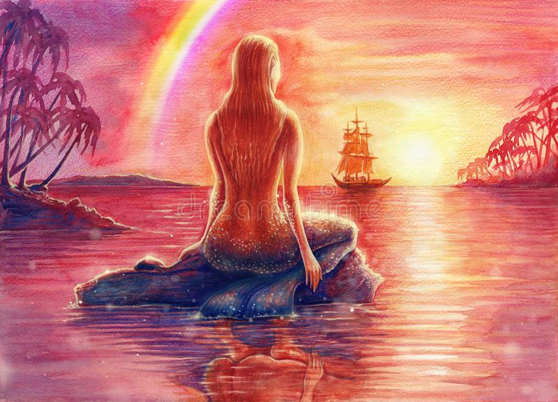 Painting fantasy watercolor landscape with mermaid silhouette, seascape with nixie, water nymph, undine, seamaid in sea, sunset royalty free stock image