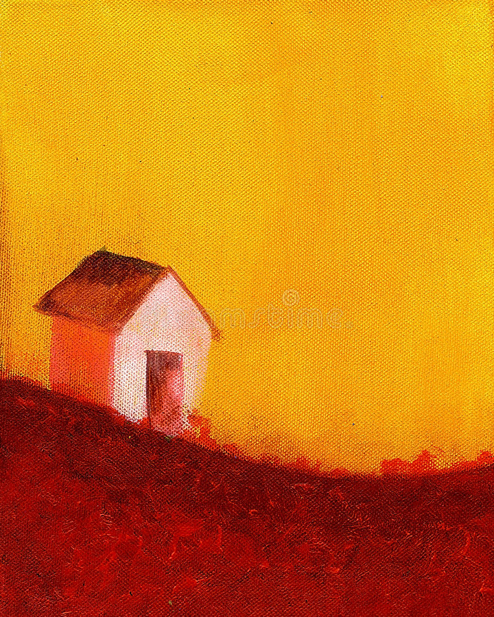 Painting of a farm house stock illustration