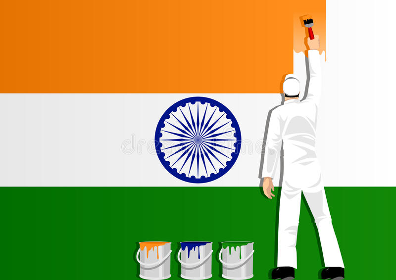 Download Painting The Flag Of India Royalty Free Stock Photography - Image: 21678127