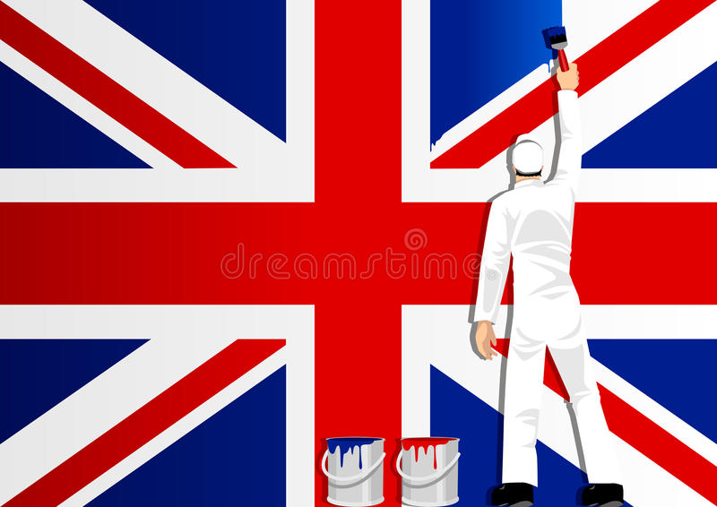 Download Painting The Flag Of UK stock vector. Illustration of paint - 21350078
