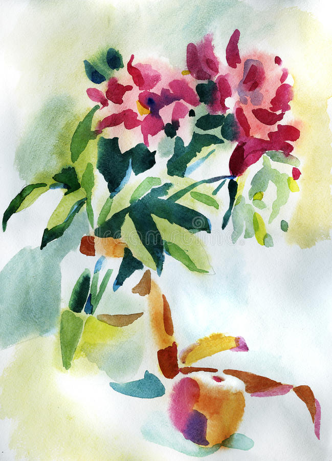 Painting flowers royalty free stock photography