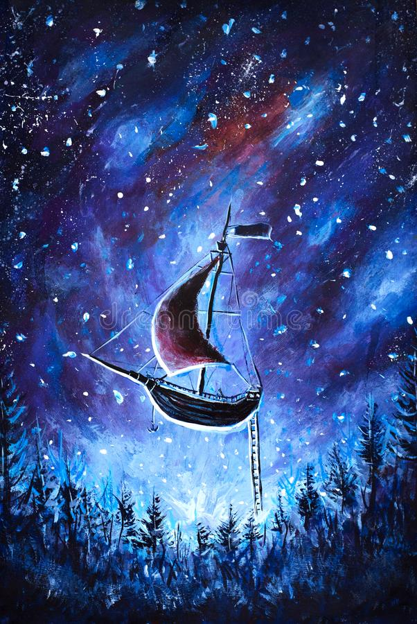 Painting Flying an old pirate ship. Sea ship is flying above starry sky. A fairy tale, a dream. Peter Pan. Illustration. Postcard. stock illustration