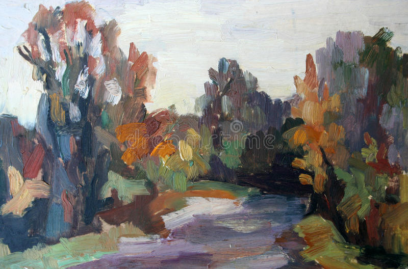 Download Painting Of A  Forest In A Autumn Stock Illustration - Image: 26032028