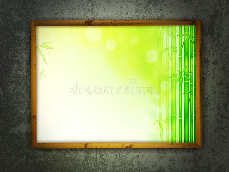 Painting in frame at grunge wall stock images