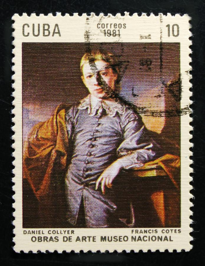 Painting by Francis Cotes. `Daniel Collyer`, 1750, Paintings in the National Museum serie, circa 1981. MOSCOW, RUSSIA - OCTOBER 1, 2017: A stamp printed in Cuba royalty free stock images