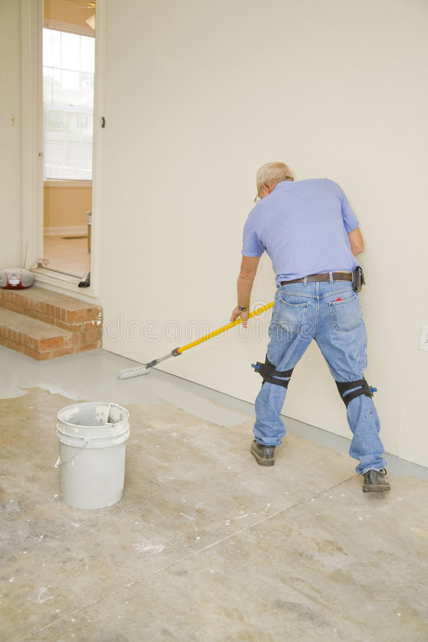 Painting garage floor stock photo