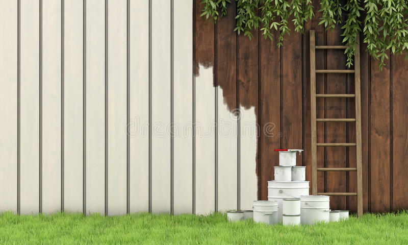 Painting The Garden Fence Stock Illustration Illustration
