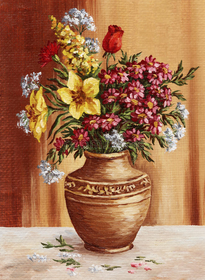 Painting, garden flowers in a clay amphora royalty free illustration