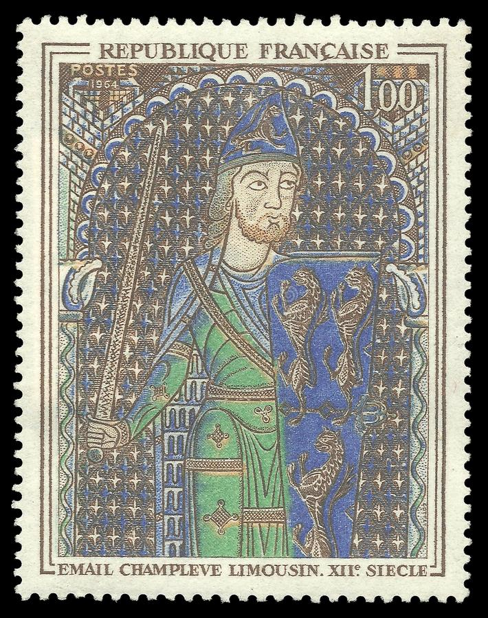 Painting Geoffrey V the Fair. France - stamp 1964: Color edition on Art, shows Painting Geoffrey V the Fair stock images