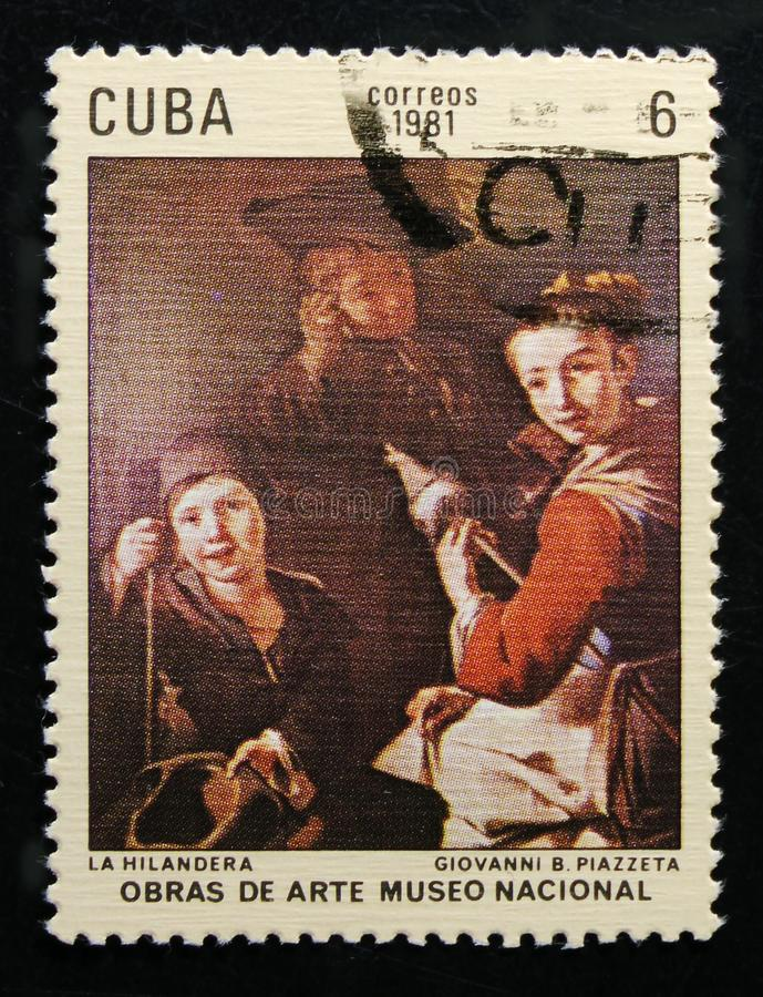 Painting by Giovanni Battista Piazzetta `Spinner`, Paintings in the National Museum serie, circa 1981. MOSCOW, RUSSIA - OCTOBER 1, 2017: A stamp printed in Cuba royalty free stock photos