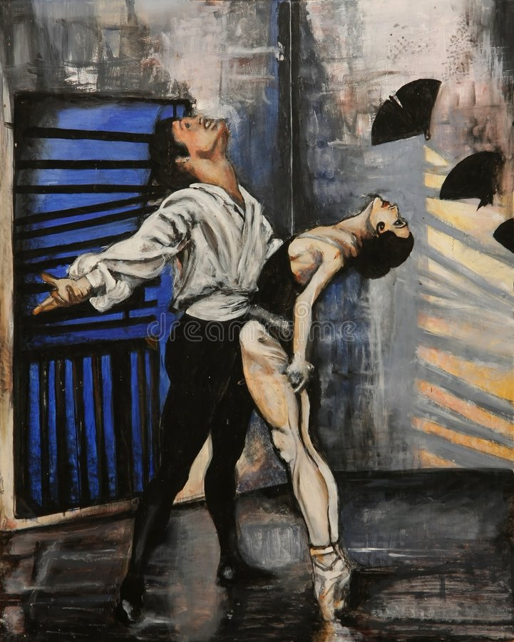 Painting of Graceful Dancers stock illustration