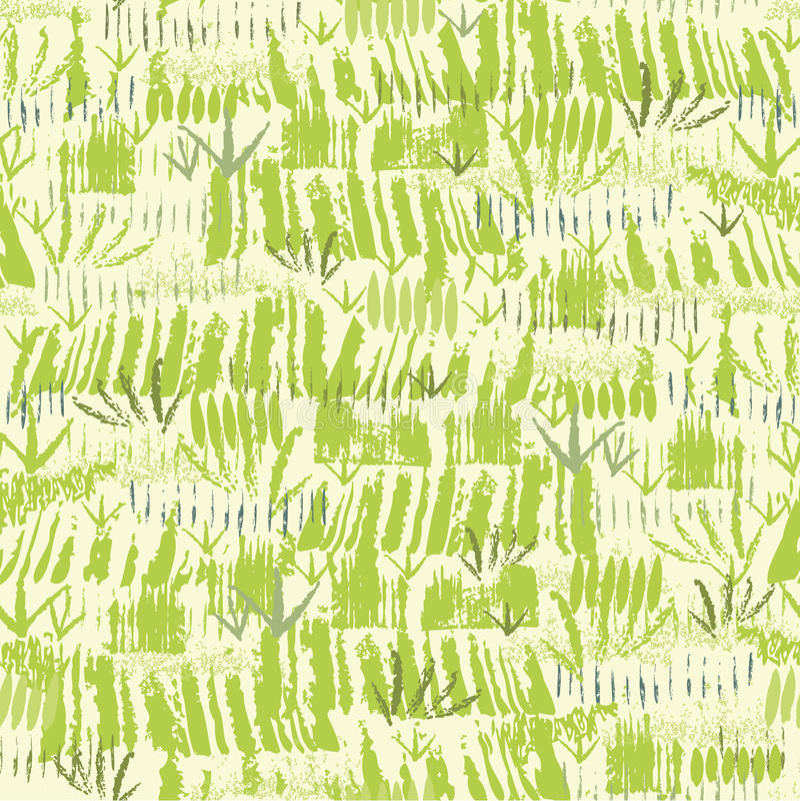 Painting of green grass seamless pattern stock illustration