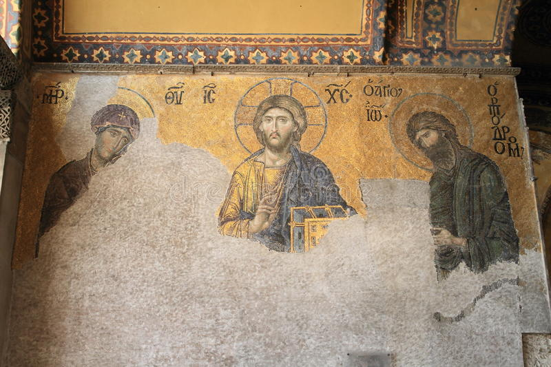 Painting in Hagia Sofia in Istanbul royalty free stock photos